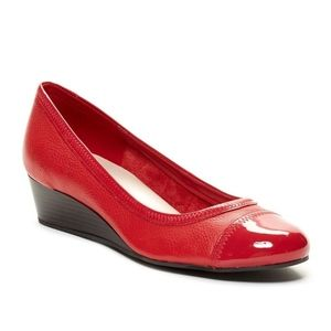 Cole Haan Elsie Red Patent Leather Cap Toe Wedge